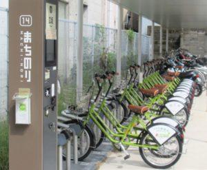 Bicycle for rent at Hirosaka